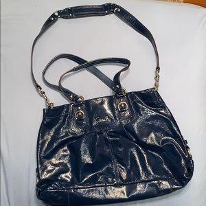 Blue patent leather coach purse